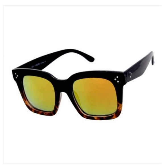 Kiss Accessories - LARGE SQ Black/Tortoise Frame YELW RED leNS NEW